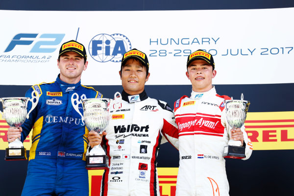 Hungaroring, Budapest, Hungary. Sunday 30 July 2017 Nobuharu Matsushita (JPN, ART Grand Prix). Oliver Rowland (GBR, DAMS). and Nyck De Vries (NED, Rapax).  Photo: dunbar/FIA Formula 2 ref: Digital Image _X4I0449