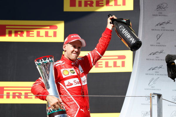Hungaroring, Budapest, Hungary.  Sunday 30 July 2017. Sebastian Vettel, Ferrari, 1st Position, with his trophy. World Copyright: Glenn Dunbar/LAT Images  ref: Digital Image _X4I2938