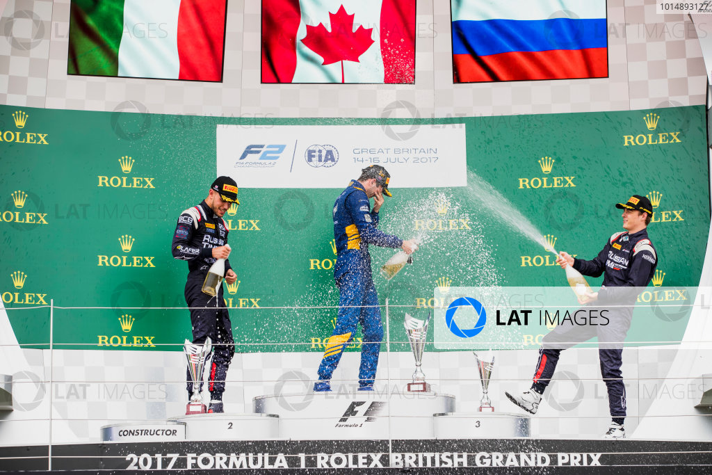 2017 FIA Formula 2 Round 6. Silverstone, Northamptonshire, UK. Sunday 16 July 2017. Luca Ghiotto (ITA, RUSSIAN TIME), Nicholas Latifi (CAN, DAMS), Artem Markelov (RUS, RUSSIAN TIME).  Photo: Zak Mauger/FIA Formula 2. ref: Digital Image _56I0797