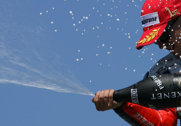 USA Laguna Seca 23-25 July 2010Jorge Lorenzo Fiat Yamaha Team celebrates his win with champagne