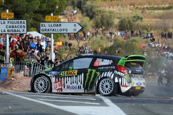 Ken Block (USA), Ford Fiesta RS WRC, on stage 7. FIA World Rally Championship, Rd12 Rally Catalunya, Salou, Spain, Day Two, Saturday 22 October 2011.