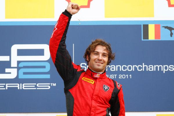 Spa - Francorchamps, Spa, Belgium. 28th August. Sunday Race. Luca Filippi (ITA, Scuderia Coloni) celebrates his victory on the podium. Photo: Glenn Dunbar/GP2 Media Service. Ref: _G7C7755 jpg
