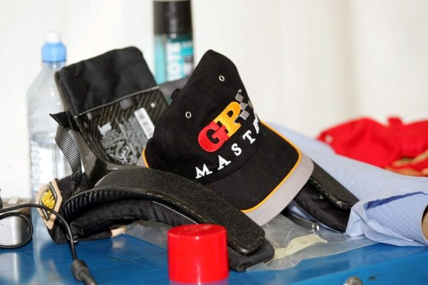 GP Masters cap and HANS device. Grand Prix Masters Testing, Day One, Silverstone, England, 26 October 2005. DIGITAL IMAGE