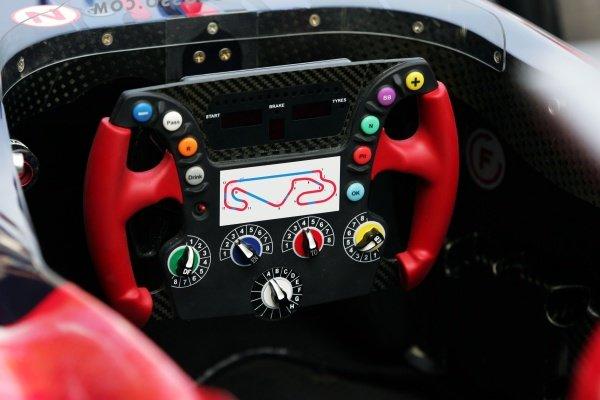 Scuderia Toro Rosso STR01 steering wheel. Formula One World Championship, Rd6, Spanish Grand Prix, Preparations, Barcelona, Spain, 11 May 2006.  DIGITAL IMAGE
