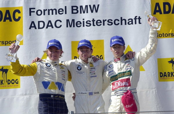 Podium and results:1st. Alexander Margaritis (GRE), centre.2nd Nico Rosberg (FIN)VIVA Racing.3rd Maximilian Gštz (GER)ADAC Nordbayern / MŸcke.Formula BMW ADAC Championship, Rd5, Norisring, Germany. 30 June 2002.DIGITAL IMAGE