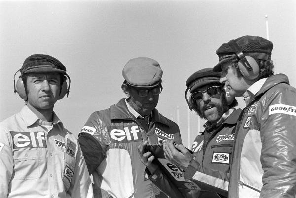 L to R: Jo Ramirez (MEX), Ken Tyrrell (GBR),  Chief Mechanic Roger Hill (GBR), and designer Derek Gardner (GBR)