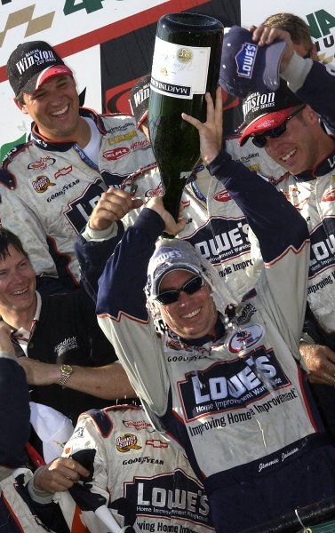 Rookie Jimmie Johnson (USA) LoweÕs Chevrolet celebrates his second victory of the season.