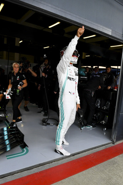 Lewis Hamilton, Mercedes AMG F1, waves to his home fans