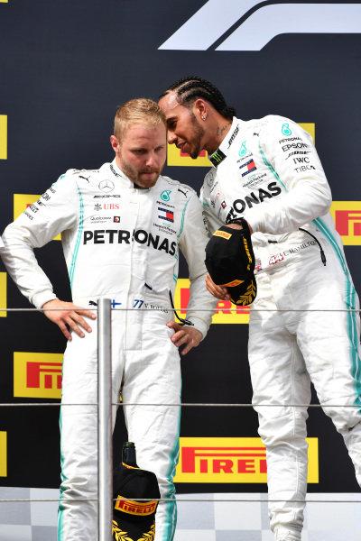 Valtteri Bottas, Mercedes AMG F1, 2nd position, and Lewis Hamilton, Mercedes AMG F1, 1st position, in Parc Ferme