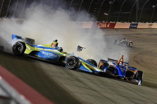 Sage Karam, Carlin Chevrolet spins with Felix Rosenqvist, Chip Ganassi Racing Honda