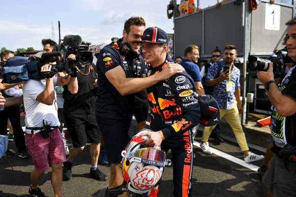 Max Verstappen, Red Bull Racing, celebrates pole with a team mate