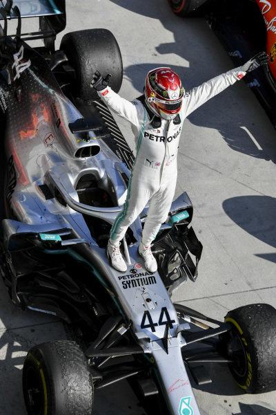 Lewis Hamilton, Mercedes AMG F1 W10, 1st position, celebrates on arrival in Parc Ferme