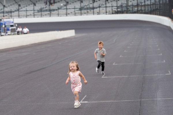 Molly Hamlin leads Owen Larson in a race at Indy.
