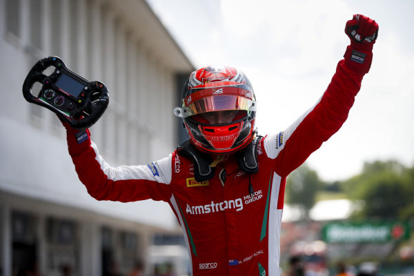 HUNGARORING, HUNGARY - AUGUST 04: Race winner Marcus Armstrong (NZL) PREMA Racing celebrates in parc ferme during the Hungaroring at Hungaroring on August 04, 2019 in Hungaroring, Hungary. (Photo by Joe Portlock / LAT Images / FIA F3 Championship)