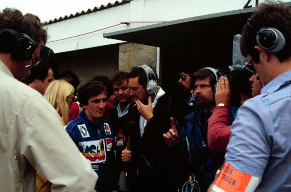 1981 British Grand Prix.Silverstone, England.16-18 July 1981.Alain Prost (Equipe Renault) is interviewed after qualifying 2nd.World Copyright - LAT Photographic