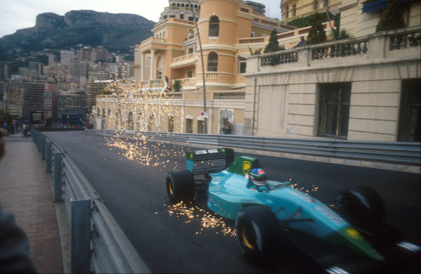 1991 Monaco Grand Prix.Monte Carlo, Monaco.26-28 April 1991.Ivan Capelli (Leyton House CG911 Ilmor) makes the sparks fly, as his car bottoms out on the climb up Beau Rivage.Ref-91 MON 18.World Copyright - LAT Photographic