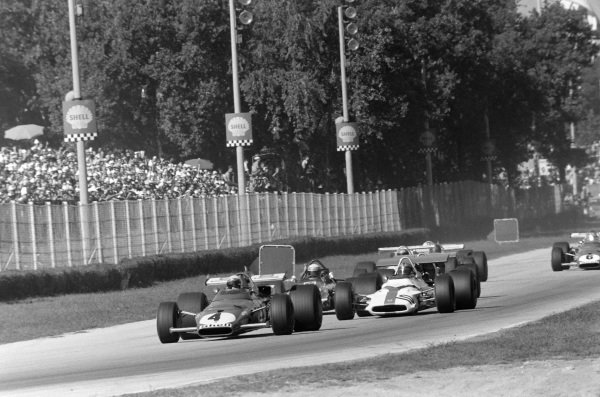 Clay Regazzoni, Ferrari 312B leadsPedro Rodriguez, BRM P153 and Jackie Stewart, March 701 Ford.