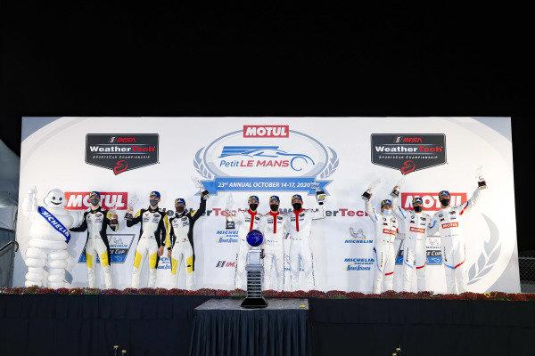 #911 Porsche GT Team Porsche 911 RSR - 19, GTLM: Nick Tandy, Fred Makowiecki, Matt Campbell, podium, #3 Corvette Racing Corvette C8.R, GTLM: Antonio Garcia, Jordan Taylor, Nicky Catsburg, #24 BMW Team RLL BMW M8 GTE, GTLM: John Edwards, Jesse Krohn, Augusto Farfus