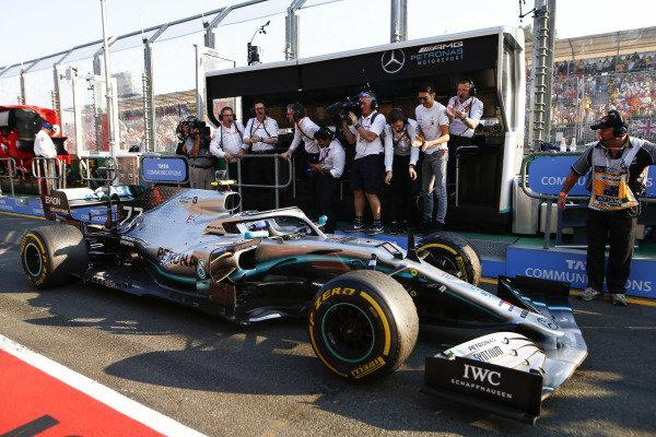 Valtteri Bottas, Mercedes AMG W10, 1st position, arrives in Parc Ferme