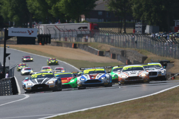 Race start Flick Haigh / Jonny Adam Optimum Motorsport Aston Martin Vantage V12 Vantage GT3 leads