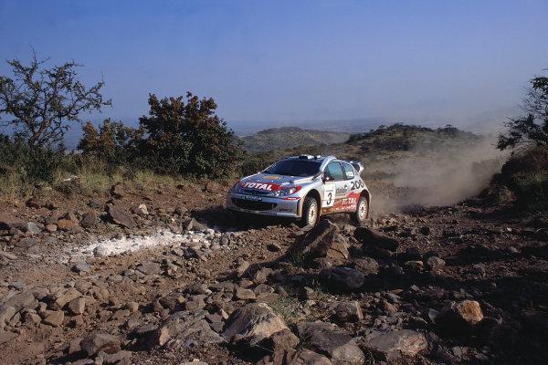 2002 World Rally ChampionshipSafari Rally, Kenya. 11th - 14th July 2002.Harri Rovanpera/Risto Pietilainen (Peugeot 206 WRC), action.World Copyright: McKlein/LAT Photographicref: 35mm Image A06
