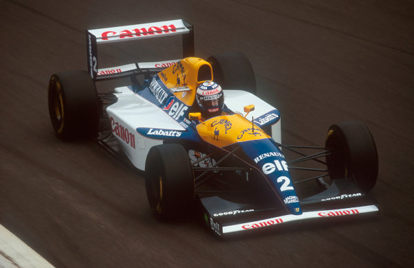 1993 Italian Grand Prix.Monza, Italy.10-12 September 1993.Alain Prost (Williams FW15C Renault) 12th position. With just 4 laps to go and leading his engine failed.Ref-93 ITA 09.World Copyright - LAT Photographic