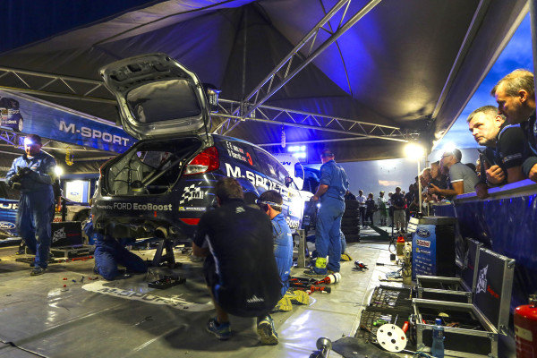 The car of Elfyn Evans (GBR) / Daniel Barritt (GBR) Ford Fiesta RS WRC in service at FIA World Rally Championship, Rd12, RAAC Rally de Espana, Day Two, Costa Daurada, Catalunya, Spain, 24 October 2015.