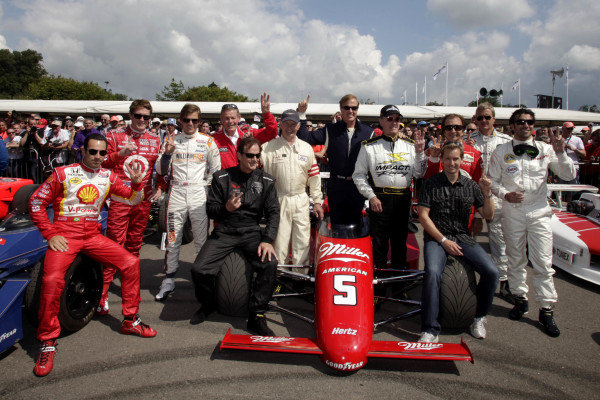 A line-up of famous Indy 500 winners including Helio Castroneves (BRA); Scott Dixon (NZL), Dan Wheldon (GBR), Bobby Unser (USA), Arie Luyendyk (NED), Parnelli Jones (USA), Danny Sullivan (USA), Johnny Rutherford (USA), Emerson Fittipaldi (BRA), Kenny Brack (SWE), Eddie Cheever (USA), Dario Franchitti (GBR).Goodwood Festival of Speed, Goodwood House, Sussex, England, 1-3 July 2011.