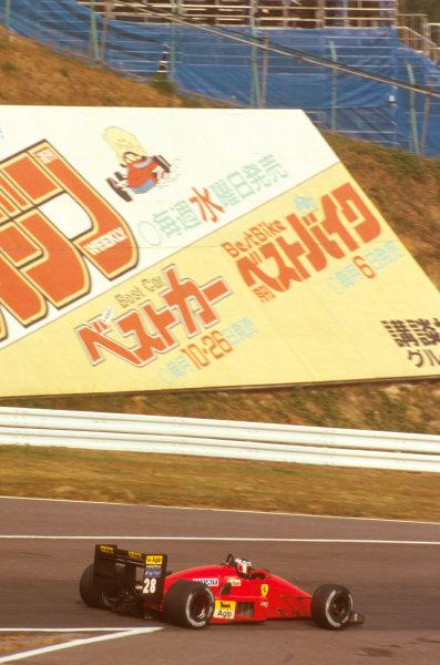 Suzuka, Japan.29/10-1/11 1987.Gerhard Berger (Ferrari F187) 1st position.Ref-87 JAP 13.World Copyright - LAT Photographic