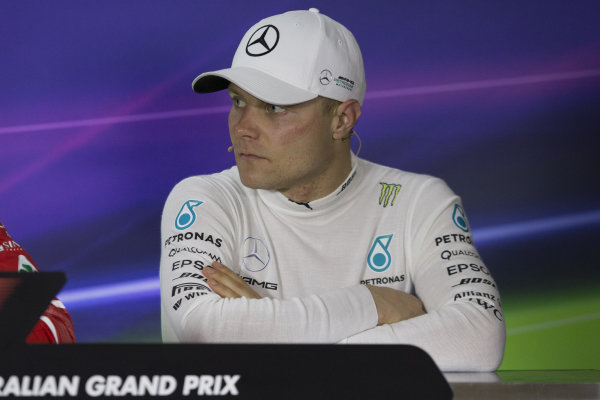Valtteri Bottas (FIN) Mercedes AMG F1 in the Press Conference at Formula One World Championship, Rd1, Australian Grand Prix, Race, Albert Park, Melbourne, Australia, Sunday 26 March 2017.