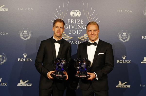 FIA Prize Giving Versailles, France. December 8, 2017. Sebastian Vettel and Valterri Bottas during the FIA Prize Giving at Versailles. World Copyright: Florent Gooden / DPPI / FIA Image ref: Digital image auto---fia-prize-giving---versailles-2017_38932386371_o
