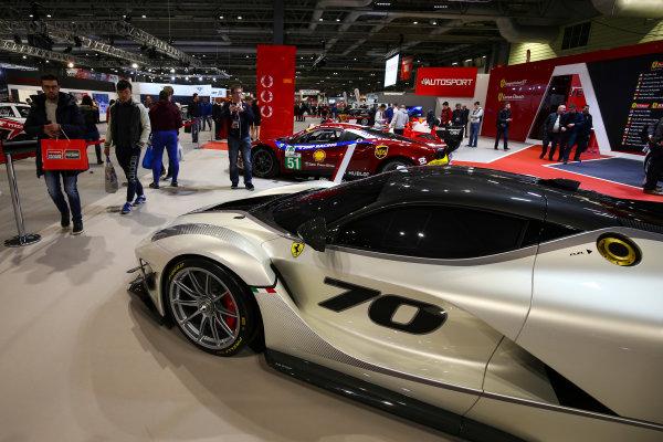 Autosport International Exhibition. National Exhibition Centre, Birmingham, UK. Sunday 14th January 2018. The Ferrari display.World Copyright: Mike Hoyer/JEP/LAT Images Ref: AQ2Y0171
