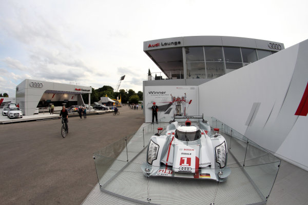 Olympic Stadium, Munich, Germany14th - 16th July 2012The Le Mans 24 Hours winning Audi R18 E-Tron is shown in front of the Audi Top Service Hospitality Audi VIP HospitalityWorld Copyright: XPB Images/LAT Photographic ref: Digital Image 2272105_HiRes