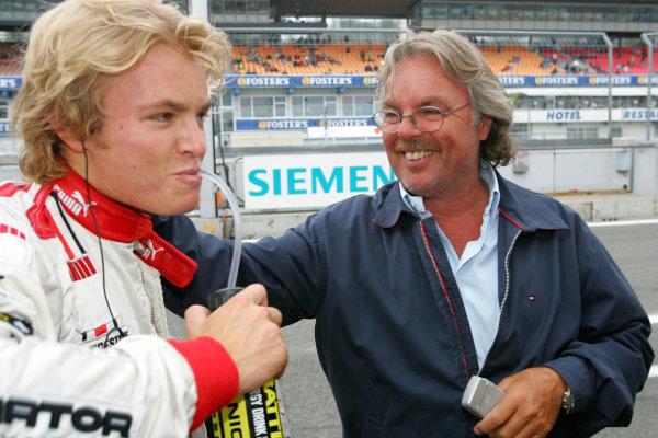 2005 GP2 Series - GermanyHockenheimring, Hockenheim22th - 24th July 2005Friday QualifyingKeke Rosberg congratulates his son Nico Rosberg (D, ART Grand Prix). on his pole position, Portrait. Copyright: GP2 Series Media Service ref: Digital Image Only