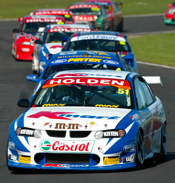 2002 V8 Supercar Championship Round 12 Pukekohe New Zealand 10/11/02: Kmart Racing driver Greg Murphy (51) leads the field during race 3. Murphy went on to win the round and back to back in New Zealand.World Copyright - Horsburgh / LAT Photographicref: digital file only