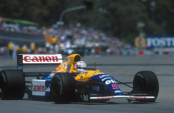 1992 Australian Grand Prix.Adelaide, Australia.6-8 November 1992.Nigel Mansell (Williams FW14B Renault).Ref-92 AUS 22.World Copyright - LAT Photographic