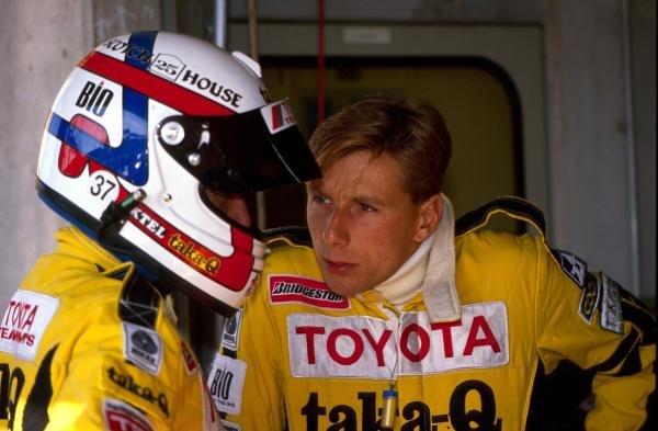 L-R: TOM'S Toyota teammates Geoff Lees (GBR) and Johnny Dumfries (GBR).World Sportscar Championship, 1989.BEST IMAGE