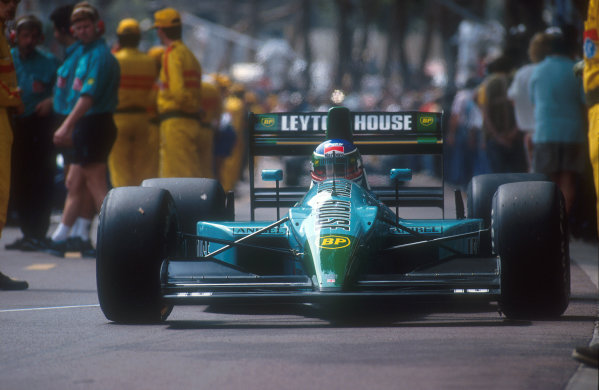 1990 Monaco Grand Prix.Monte Carlo, Monaco.25-27 May 1990.Ivan Capelli (Leyton House CG901 Judd). On the first start his car caught fire. Luckily, he was able to start the second race in the spare, but as the race progressed his brakes became more and more difficult, so he exited the race after 13 laps.Ref-90 MON 28.World Copyright - LAT Photographic