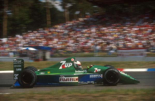 1991 German Grand Prix.Hockenheim, Germany.26-28 July 1991.Andrea de Cesaris (Jordan 191 Ford) 5th position.Ref-91 GER 10.World Copyright - LAT Photographic