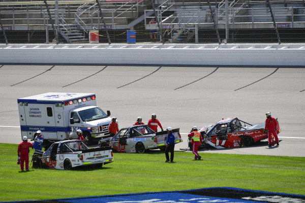 #54: Natalie Decker, DGR-Crosley, Toyota Tundra N29 Technologies LLC, #15: Anthony Alfredo, DGR-Crosley, Toyota Tundra The Precision Difference / Oxford Energy Group / Meccanic / ASDC, #17: Tyler Ankrum, DGR-Crosley, Toyota Tundra May's Hawaii after crashing