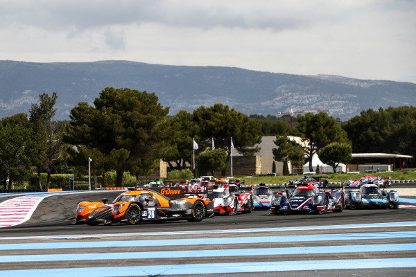 Start of the Race, #26 Aurus 01 - Gibson / G-DRIVE RACING / Roman Rusinov / Franco Colapinto / Nyck de Vries leads