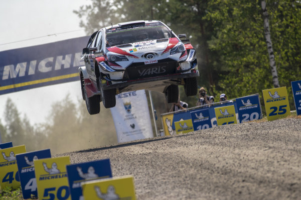 Ott Tanak jumps over the flying finish of rally Finland