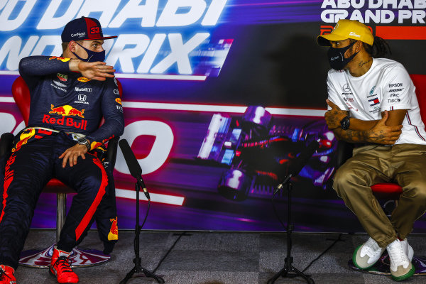 Max Verstappen, Red Bull Racing, 1st position, and Lewis Hamilton, Mercedes-AMG Petronas F1, 3rd position, talk in the Press Conference