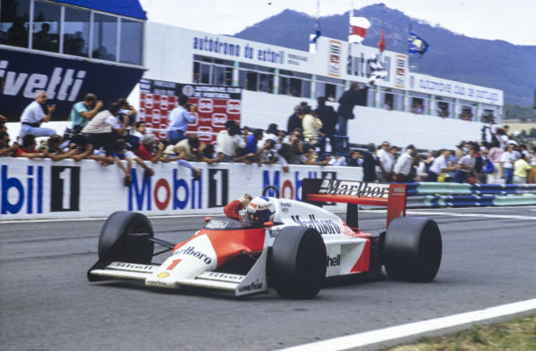 Alain Prost, McLaren MP4-3 TAG, raises an arm in celebration as he takes a then-record 28th grand prix victory.