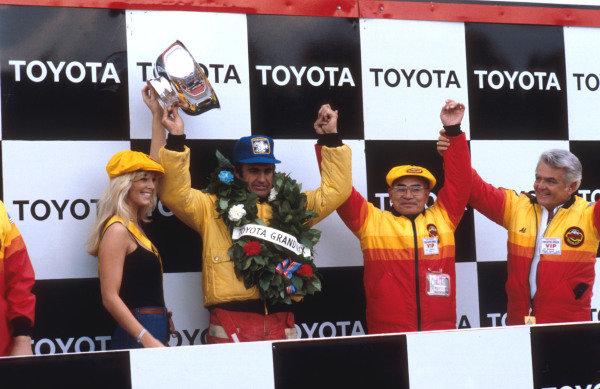 1978 United States Grand Prix East.Watkins Glen, New York, USA.28/9-1/10 1978.Carlos Reutemann (Ferrari) 1st position on the podium. Ref-78 USA 02.World Copyright - LAT Photographic