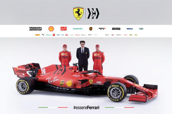 The Ferrari SF1000 is launched. L-R: Charles Leclerc, Ferrari, Mattia Binotto, Team Principal Ferrari and Sebastian Vettel, Ferrari