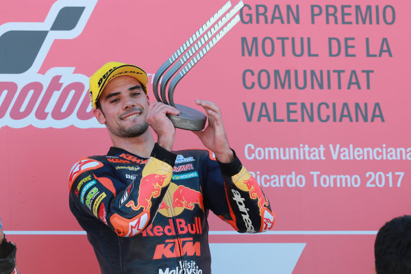 2017 Moto2 Championship - Round 18 Valencia, Spain  Sunday 12 November 2017 Podium: Race winner Miguel Oliveira, Red Bull KTM Ajo  World Copyright: Gold and Goose Photography/LAT Images  ref: Digital Image 706490