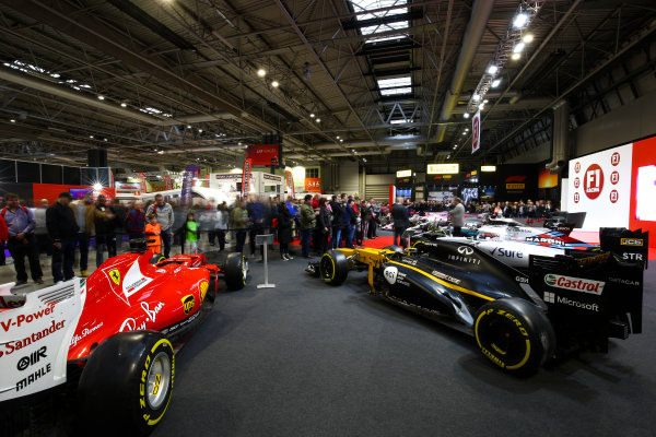 Autosport International Exhibition. National Exhibition Centre, Birmingham, UK. Sunday 14th January 2018. Nigel Mansell talks on the F1 Racing Stand.World Copyright: Mike Hoyer/JEP/LAT Images Ref: AQ2Y9731