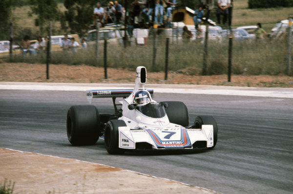 1975 South African Grand Prix  Kyalami, South Africa. 27th February - 1st March 1975.  Carlos Reutemann, Brabham BT44B Ford, 2nd position.  Ref: 75SA09. World Copyright: LAT Photographic