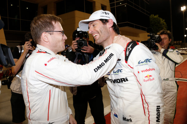 2015 FIA World Endurance Championship Bahrain 6-Hours Bahrain International Circuit, Bahrain Saturday 21 November 2015. Mark Webber (#17 LMP1 Porsche AG Porsche 919 Hybrid celebrates after winning the drivers championship. World Copyright: Alastair Staley/LAT Photographic ref: Digital Image _79P1353